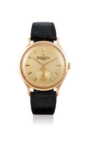 Vacheron Constantin. A Rare Oversized Pink Gold Wristwatch with Champagne Gilt Textured Dial