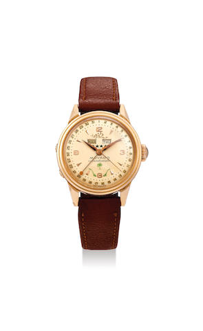 Movado. A Pink Gold Triple Calendar Wristwatch with the Emblem of Saudi Arabia
