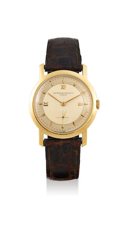 Vacheron Constantin. A Large Yellow Gold Wristwatch with Two-Tone Dial, Circa 1955
