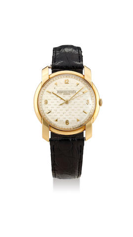 Vacheron Constantin. A Rare Large Yellow Gold Centre Seconds Wristwatch with Textured Dial, Circa 1955