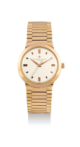 Vacheron Constantin. A Very Rare Pink Gold Centre Seconds Chronometre Bracelet Watch