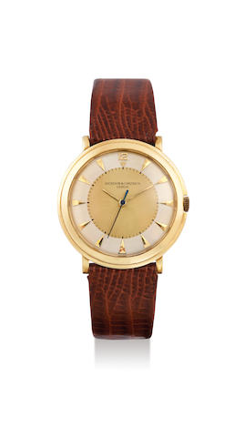 Vacheron Constantin. A Fine Yellow Gold Centre Seconds Wristwatch With Two Tone Dial