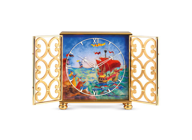 Imhof. An Attractive Gilt Brass Table Clock With Polychrome Enamel Dial