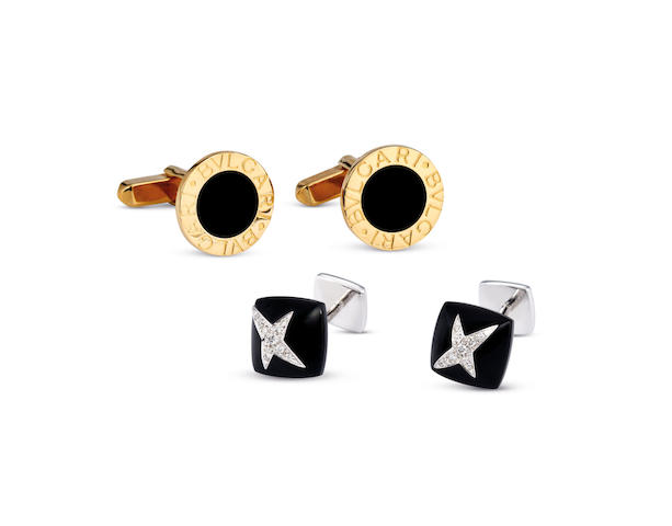 Bvlgari. A Pair of Yellow Gold and Onyx Cufflinks, together with a Pair of White Gold, Onyx and Diamond Cufflinks by Mauboussin (2)