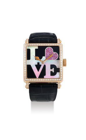 Roger Dubuis. A Lady's Limited Edition Pink Gold and Diamond Set Square Wristwatch with Onyx and Mother of Pearl Dial