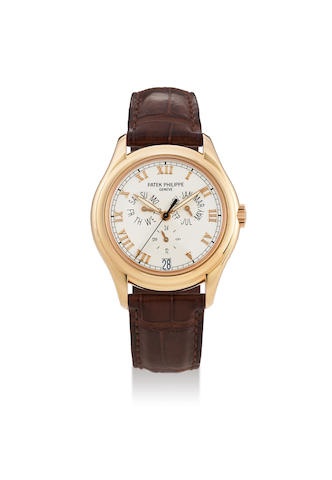 Patek Philippe. A Pink Gold Annual Calendar Automatic Wristwatch, Ref. 5035R, With pouch and service receipt