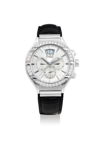Piaget. A White Gold and Diamond-Bezel Chronograph Wristwatch with Date
