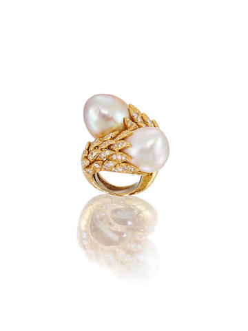A Cultured Pearl and Diamond Ring, by David Webb