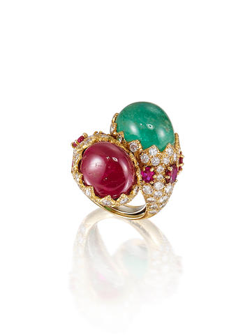A Ruby, Emerald and Diamond Ring, by David Webb