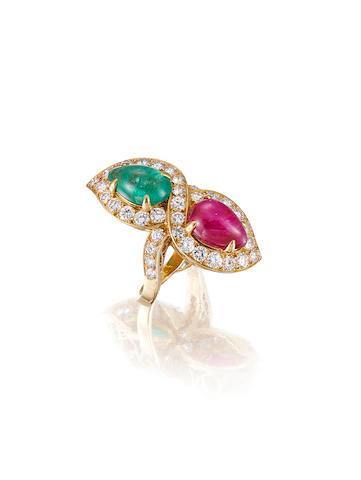 A Ruby, Emerald and Diamond Ring, by Bulgari