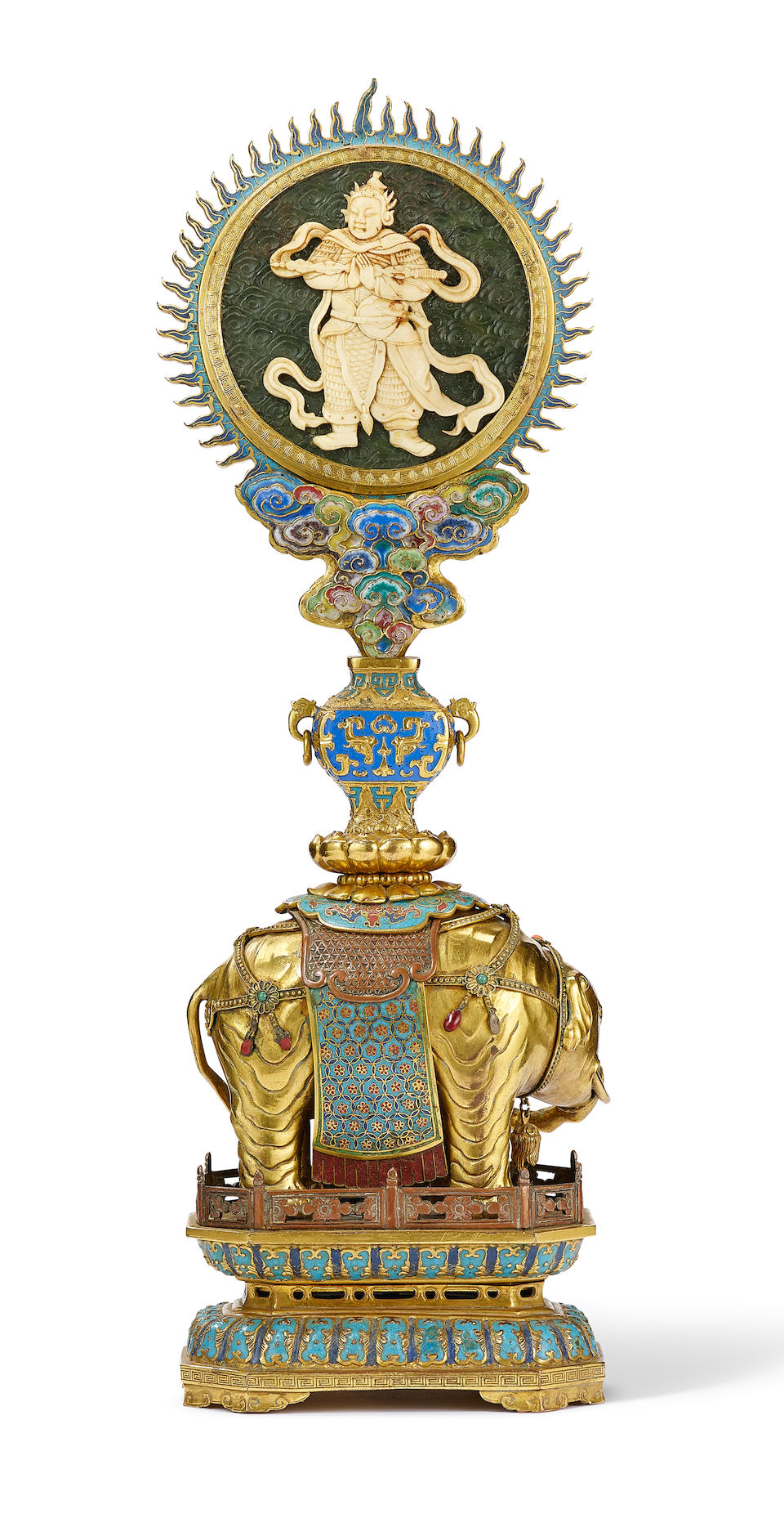 A rare Imperial gilt-bronze, cloisonné and champlevé enamel ivory-inlaid 'elephant and vase Guanyin and Skanda' emblem  Qianlong