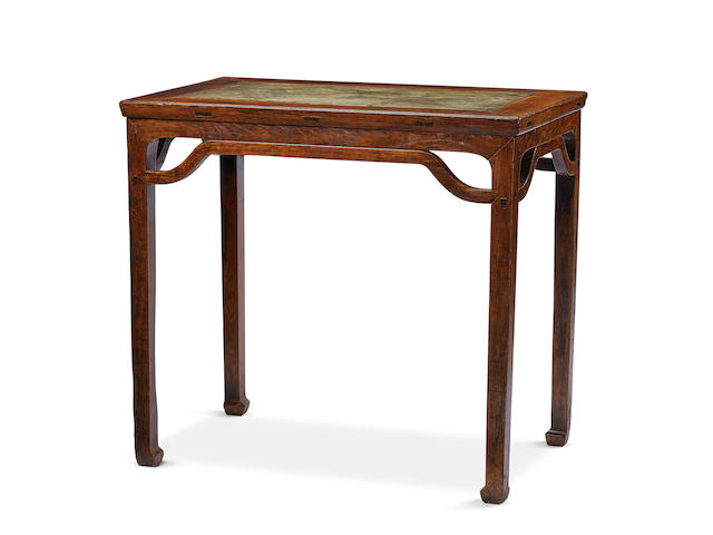 A HUANGHUALI AND GREEN STONE-INSET FLUSH-SIDED CORNER-LEG TABLE, BANZHUO Late Ming Dynasty
