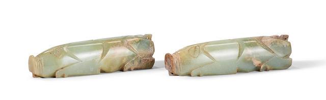 A pair of grey jade carvings of pigs Han Dynasty (3)