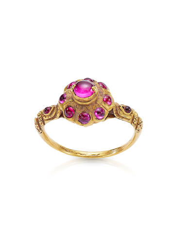 A GOLD AND TOURMALINE RING THAILAND