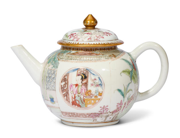 A PAINTED ENAMEL 'ROMANCE OF THE WESTERN CHAMBER' TEAPOT AND COVER Qianlong (2)