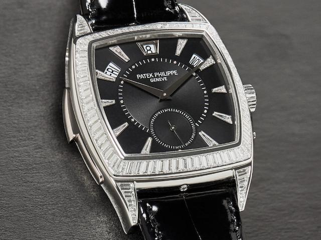 Patek Philippe. A Platinum and Diamond-set Minute Repeating Wristwatch, Ref.5033P, #3718011, With box, certificate, 1 setting pin, 1 spare case back