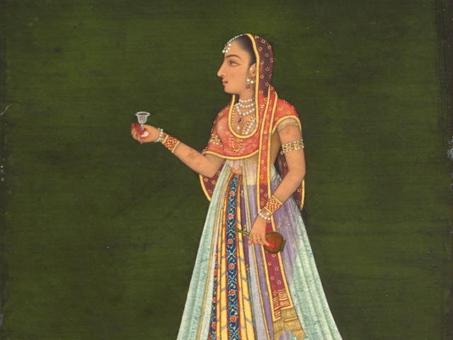 A PORTRAIT OF A LADY HOLDING A WINE FLASK ATTRIBUTED TO MUHAMMAD REZA-I-HINDI, PROVINCIAL MUGHAL, CIRCA 1760